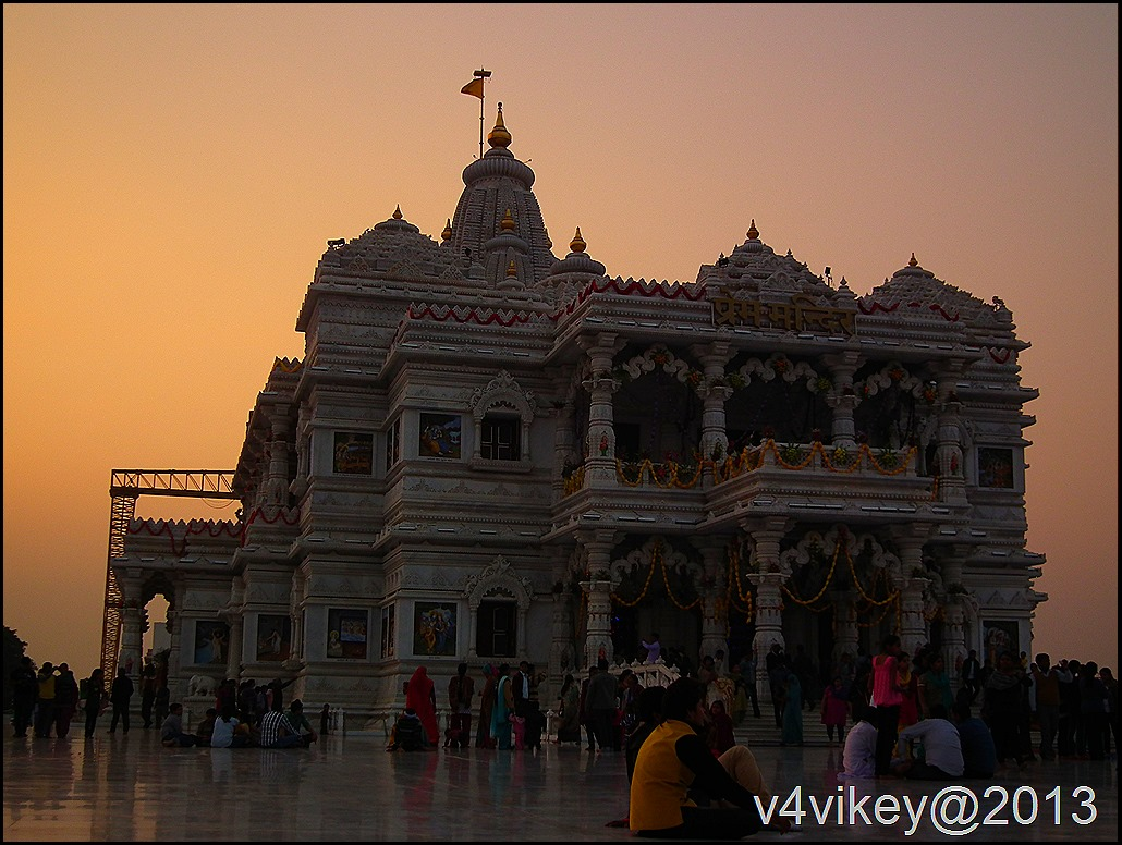 Prem Mandir Vrindavan at Sunset time