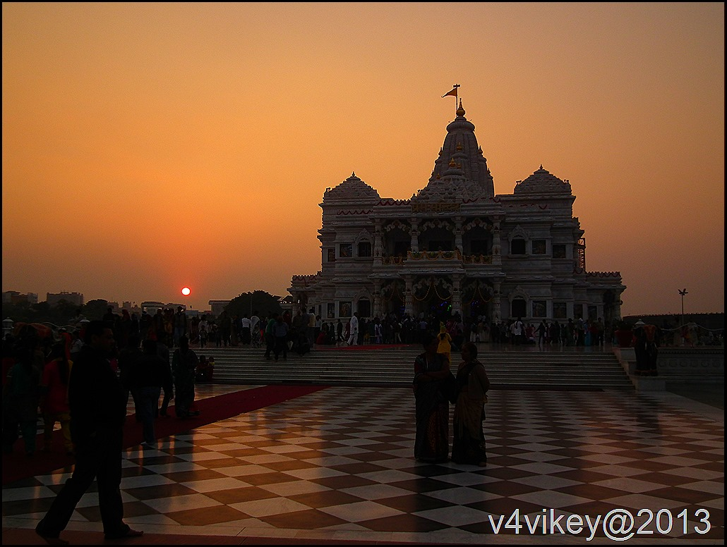 View of  Prem Mandir at Sunset time